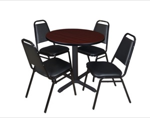"Cain 30"" Round Breakroom Table - Mahogany & 4 Restaurant Stack Chairs - Black"