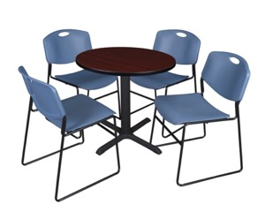 "Cain 30"" Round Breakroom Table - Mahogany & 4 Zeng Stack Chairs - Blue"