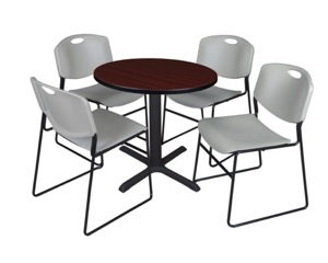 "Cain 30"" Round Breakroom Table - Mahogany & 4 Zeng Stack Chairs - Grey"