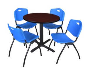 "Cain 30"" Round Breakroom Table - Mahogany & 4 'M' Stack Chairs - Blue"