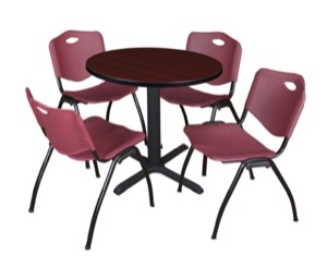 "Cain 30"" Round Breakroom Table - Mahogany & 4 'M' Stack Chairs - Burgundy"