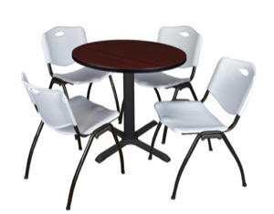 "Cain 30"" Round Breakroom Table - Mahogany & 4 'M' Stack Chairs - Grey"