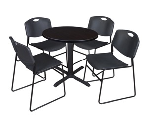 "Cain 30"" Round Breakroom Table - Mocha Walnut & 4 Zeng Stack Chairs - Black"