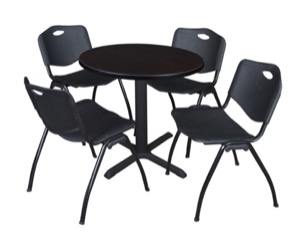 "Cain 30"" Round Breakroom Table - Mocha Walnut & 4 'M' Stack Chairs - Black"