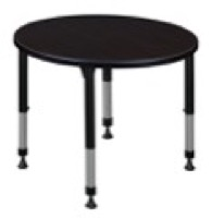 "Kee 30"" Round Height Adjustable Classroom Table  - Mocha Walnut"