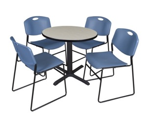 "Cain 30"" Round Breakroom Table - Maple & 4 Zeng Stack Chairs - Blue"