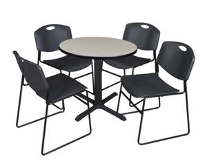 "Cain 30"" Round Breakroom Table - Maple & 4 Zeng Stack Chairs - Black"