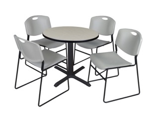 "Cain 30"" Round Breakroom Table - Maple & 4 Zeng Stack Chairs - Grey"