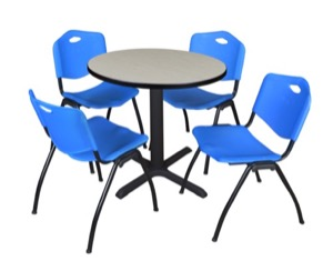 "Cain 30"" Round Breakroom Table - Maple & 4 'M' Stack Chairs - Blue"