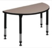 "36"" x 18"" Half Round Height Adjustable Classroom Table - Beige"