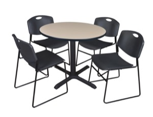 "Cain 36"" Round Breakroom Table - Beige & 4 Zeng Stack Chairs - Black"