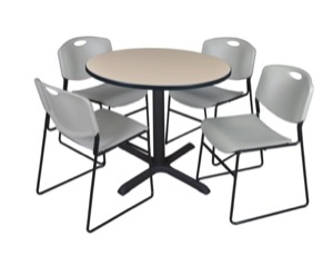"Cain 36"" Round Breakroom Table - Beige & 4 Zeng Stack Chairs - Grey"