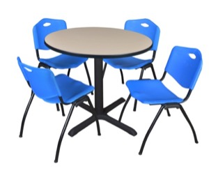 "Cain 36"" Round Breakroom Table - Beige & 4 'M' Stack Chairs - Blue"