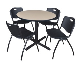 "Cain 36"" Round Breakroom Table - Beige & 4 'M' Stack Chairs - Black"