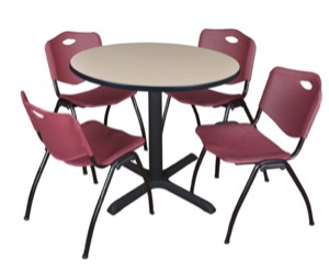 "Cain 36"" Round Breakroom Table - Beige & 4 'M' Stack Chairs - Burgundy"