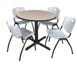 "Cain 36"" Round Breakroom Table - Beige & 4 'M' Stack Chairs - Grey"