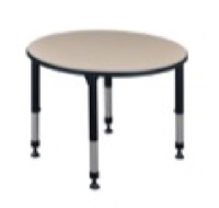 "Kee 36"" Round Height Adjustable Classroom Table  - Beige"