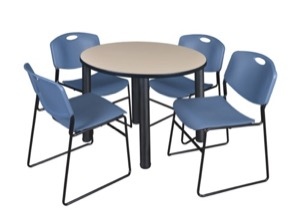 "Kee 36"" Round Breakroom Table - Beige/ Black & 4 Zeng Stack Chairs - Blue"