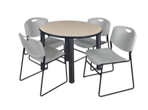 "Kee 36"" Round Breakroom Table - Beige/ Black & 4 Zeng Stack Chairs - Grey"