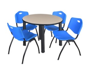 "Kee 36"" Round Breakroom Table - Beige/ Black & 4 'M' Stack Chairs - Blue"