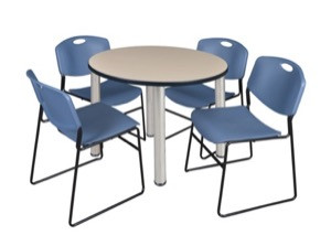 "Kee 36"" Round Breakroom Table - Beige/ Chrome & 4 Zeng Stack Chairs - Blue"