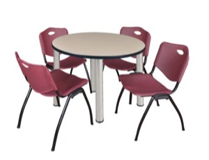 "Kee 36"" Round Breakroom Table - Beige/ Chrome & 4 'M' Stack Chairs - Burgundy"
