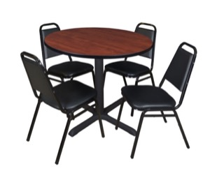 "Cain 36"" Round Breakroom Table - Cherry & 4 Restaurant Stack Chairs - Black"