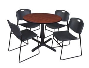 "Cain 36"" Round Breakroom Table - Cherry & 4 Zeng Stack Chairs - Black"