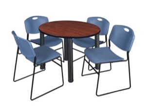"Kee 36"" Round Breakroom Table - Cherry/ Black & 4 Zeng Stack Chairs - Blue"