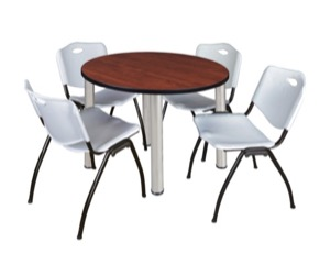 "Kee 36"" Round Breakroom Table - Cherry/ Chrome & 4 'M' Stack Chairs - Grey"