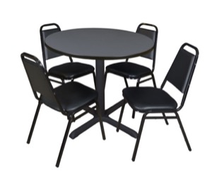 "Cain 36"" Round Breakroom Table - Grey & 4 Restaurant Stack Chairs - Black"