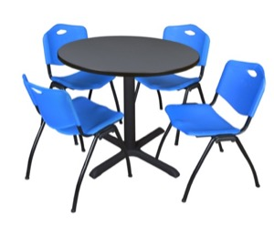 "Cain 36"" Round Breakroom Table - Grey & 4 'M' Stack Chairs - Blue"
