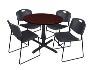 "Cain 36"" Round Breakroom Table - Mahogany & 4 Zeng Stack Chairs - Black"