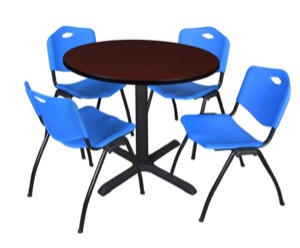 "Cain 36"" Round Breakroom Table - Mahogany & 4 'M' Stack Chairs - Blue"
