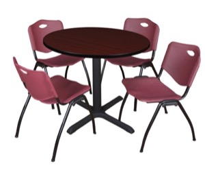 "Cain 36"" Round Breakroom Table - Mahogany & 4 'M' Stack Chairs - Burgundy"
