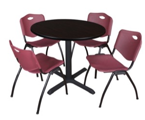 "Cain 36"" Round Breakroom Table - Mocha Walnut & 4 'M' Stack Chairs - Burgundy"