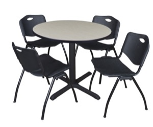 "Cain 36"" Round Breakroom Table - Maple & 4 'M' Stack Chairs - Black"