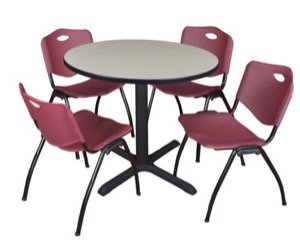 "Cain 36"" Round Breakroom Table - Maple & 4 'M' Stack Chairs - Burgundy"