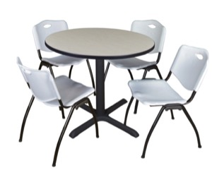 "Cain 36"" Round Breakroom Table - Maple & 4 'M' Stack Chairs - Grey"