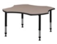 "48"" Clover Shaped Height Adjustable Classroom Table - Beige"