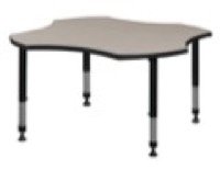 "48"" Clover Shaped Height Adjustable Classroom Table - Maple"