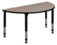"48"" x 24"" Half Round Height Adjustable Classroom Table - Beige"