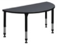 "48"" x 24"" Half Round Height Adjustable Classroom Table - Grey"