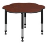 "60"" Flower Shaped Height Adjustable Classroom Table - Cherry"