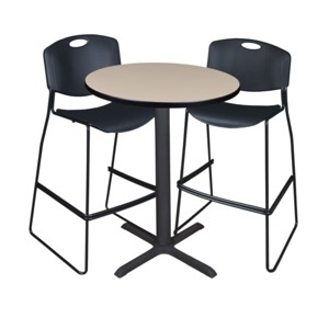 "Cain 30"" Round Cafe Table - Beige & 2 Zeng Stack Stools - Black"