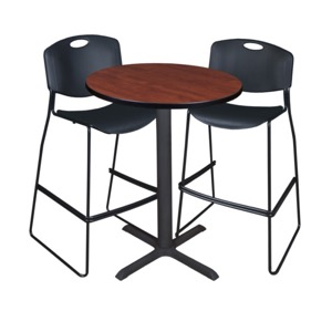 "Cain 30"" Round Cafe Table - Cherry & 2 Zeng Stack Stools - Black"