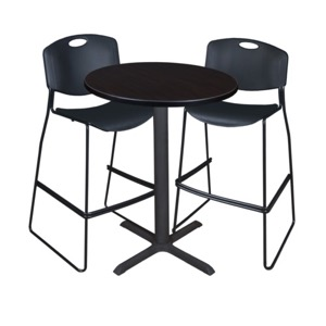 "Cain 30"" Round Cafe Table - Mocha Walnut & 2 Zeng Stack Stools - Black"