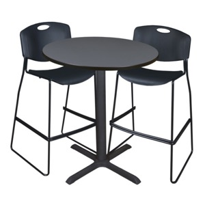 "Cain 36"" Round Cafe Table - Grey & 2 Zeng Stack Stools - Black"