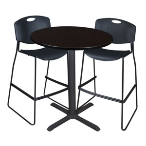 "Cain 36"" Round Cafe Table - Mocha Walnut & 2 Zeng Stack Stools - Black"