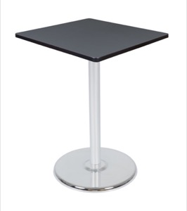 "Via Cafe High-Top 30"" Square Platter Base Table - Grey/Chrome"